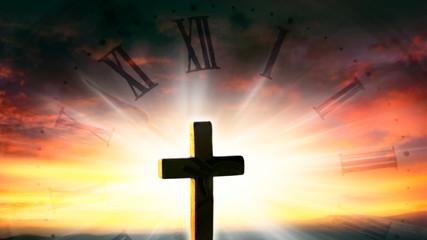 Glowing cross in sky . Happy Easter. Light from sky . Religion background .  Paradise heaven . Light in sky .