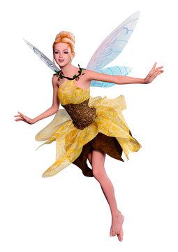 3D Rendering Fantasy Fairy on White