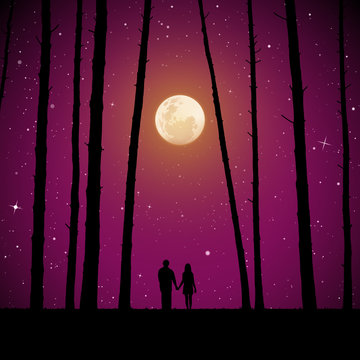 Lovers in forest on moonlit night. Vector illustration with silhouette of loving couple. Full moon in starry sky