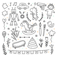 Toys and baby clipart hand drawn vector elements for decoration children's party. Cute kids outline illustrations
