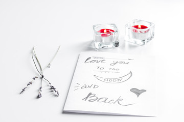 concept of Valentine's Day love letter on white background