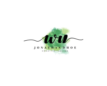 W U Initial watercolor logo on white background. Logo template vector