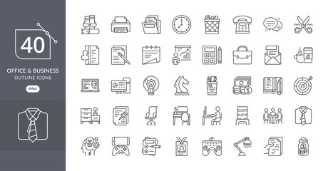 Business office icon set. Set of Business Office Related Vector Line Icons. Contains such Icons as Desk, Document, Clock, Folder, Printer, Task, money, and more. Office icons set - Vector