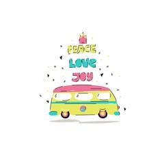 "Vector hand drawn illustration with cartoon hippie buses and the inscription "" Peace. Love. Joy."" Cute postcard."