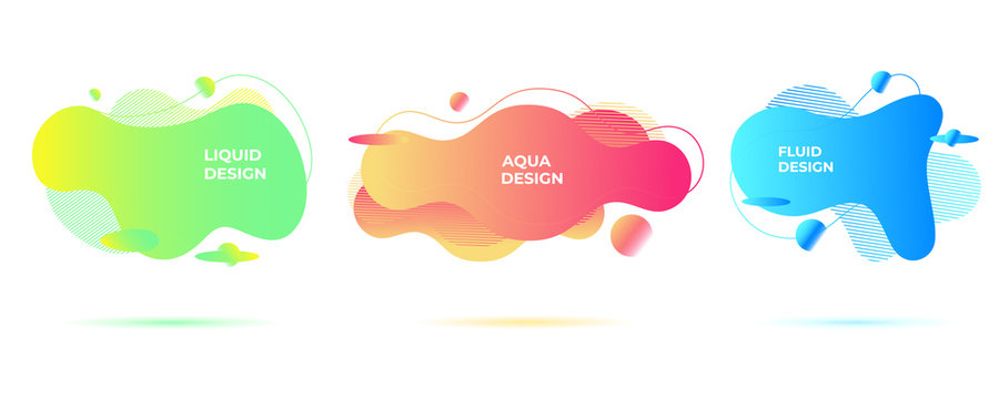 Abstract liquid shapes. Organic flowing forms. Vivid fluid backgrounds.