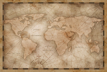 vintage world map illustration based on image furnished by NASA