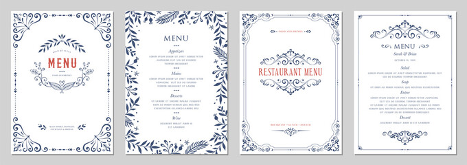 Ornate classic templates set in vintage style. Wedding and restaurant menu.