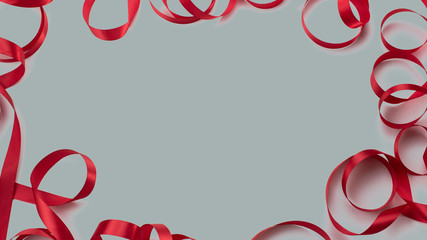 Decorative frame of red satin ribbon white background Top view copy space