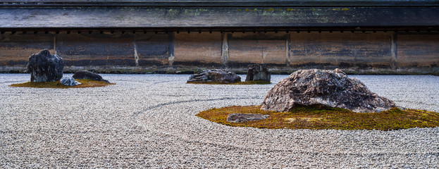Acrylic Prints Stones in Sand 京都 龍安寺 石庭