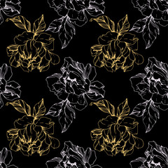 Vector Golden peony floral botanical flower. Engraved ink art. Seamless background pattern.