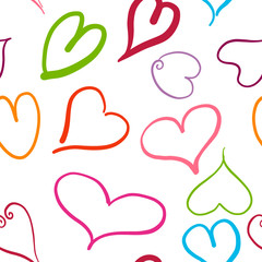 Abstract seamless pattern with colored hearts. Valentine hearts with hand draw