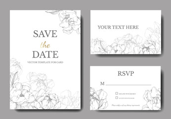 Vector Silver peony floral botanical flower. Engraved ink art. Wedding background card floral decorative border.