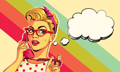 Beautiful pin up girl on telephone vector illustration in pop art style