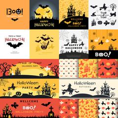 Digital vector yellow black happy halloween icons