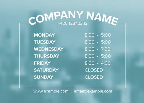 Shop opening time hours vector template
