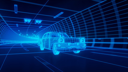 Blue wireframe Oldstyle classic car rides through Blue tunnel 3d rendering