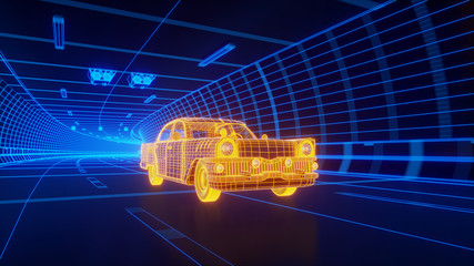 Yellow wireframe Oldstyle classic car rides through Blue tunnel 3d rendering