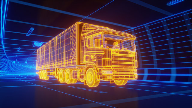 Yellow wireframe Trailer Truck rides through Blue tunnel 3d rendering
