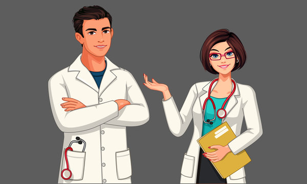 Beautiful young male and female doctors vector illustration