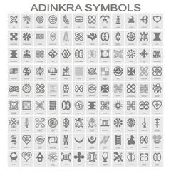 set of monochrome icons with adinkra symbols for your design