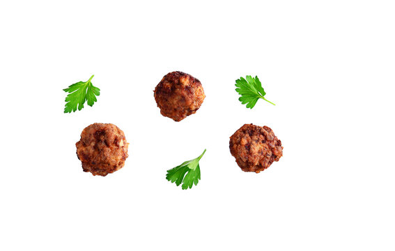 Homemade beef meatball isolated on white