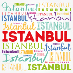 Istanbul wallpaper word cloud, travel concept background