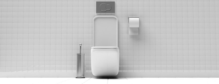 White toilet bowl and accessories on tiled wall and floor background, banner. 3d illustration