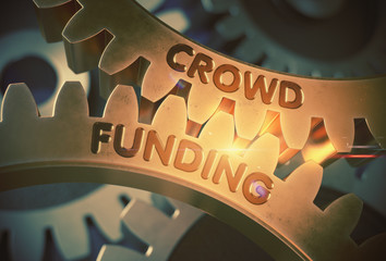 Golden Gears with Crowd Funding Concept. 3D Illustration.