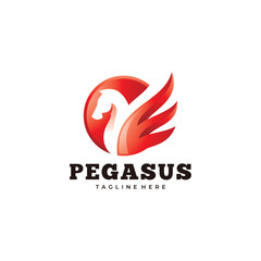 Modern Pegasus Logo, Horse and Wing Vector Icon