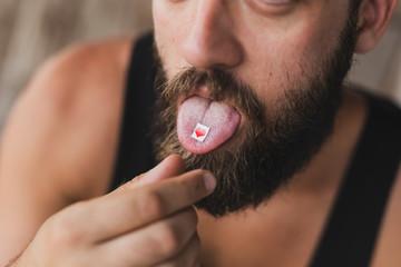 Man taking LSD