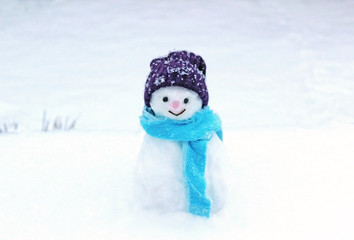 smiling little snowman standing on a snow covered field
