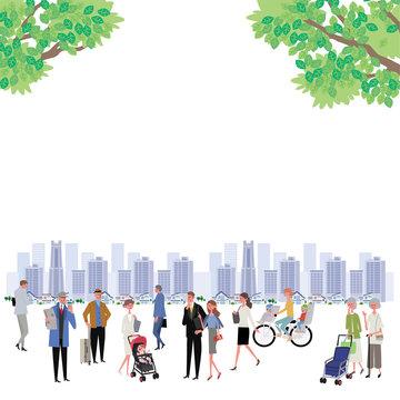 新緑 町と人々 町並み イラスト デザイン