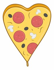 a big slice of pizza with cheese, mushrooms and salami in the shape of a heart for Valentine`s Day