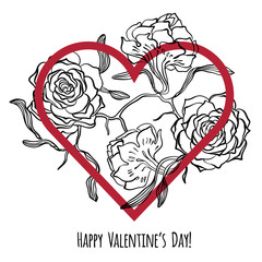 Happy Valentine's Day card with heart and sketches of roses. Vector. Romantic quote postcard, card, invitation, banner template
