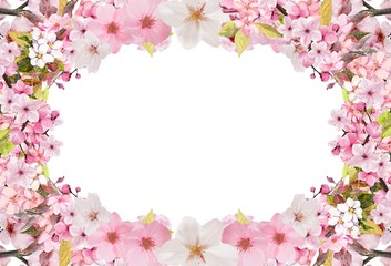 Sakura illustrations with a white background for wedding cards and Valentine