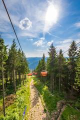 Seilbahnfahrt am Keilberg im Erzgebirge