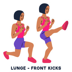 Lunges. Front kicks. Sport exersice. Silhouettes of woman doing exercise. Workout, training.