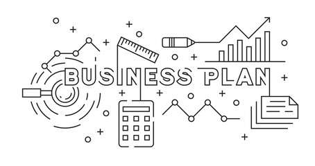 Business Planning and Marketing Strategy Concept Flat Line Design. Black and White Doodle Style Vector. Banner and Background Design for Presentation or Another Projects