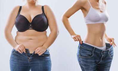 Woman's body before and after weight loss on background