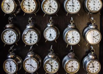 Prague, Czech Republic: Vintage Czech clocks in Prague souvenir shop.