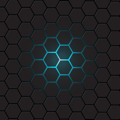 Dark gray hexagon background, vector