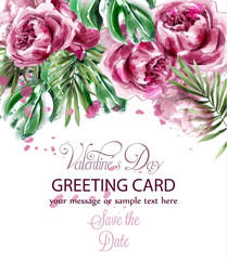 Pink peony flowers watercolor banner Vector. Exotic floral bouquet invitation. Wedding ceremony events