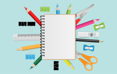 Blank notebook with school supplies on mint green background. Vector illustration