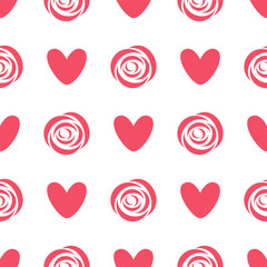 Pattern with rose and heart