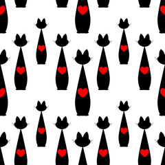 seamless pattern with black Cat and red heart. vector.