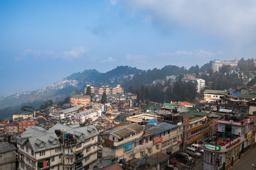 Darjeeling town view from high angle view shot