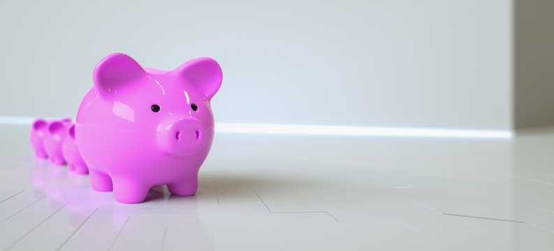 Piggy Bank save money real estate investment concept