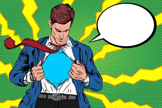 Pop Art Retro, A man Open Cloth. Super hero male businessman. Corporate, courage, Vector Illustration