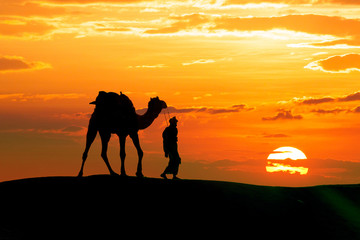 Walking with camel through Thar Desert in India, Show silhouette and dramatic sky