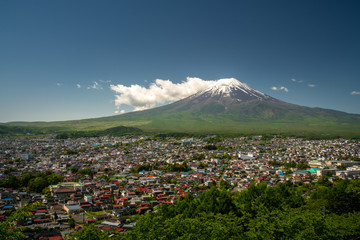 Fuji mountain and village on ground with clear blue sky day